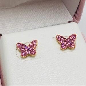 Jewelry - 10k yellow gold pink diamond butterfly 🦋 earrings